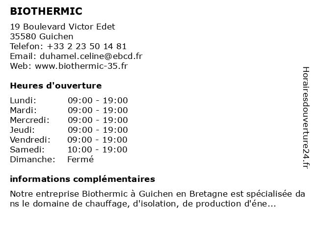 BIOTHERMIC à Guichen: adresse et heures d'ouverture