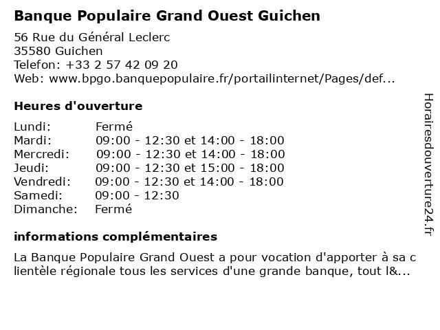Banque Populaire Grand Ouest Guichen à Guichen: adresse et heures d'ouverture