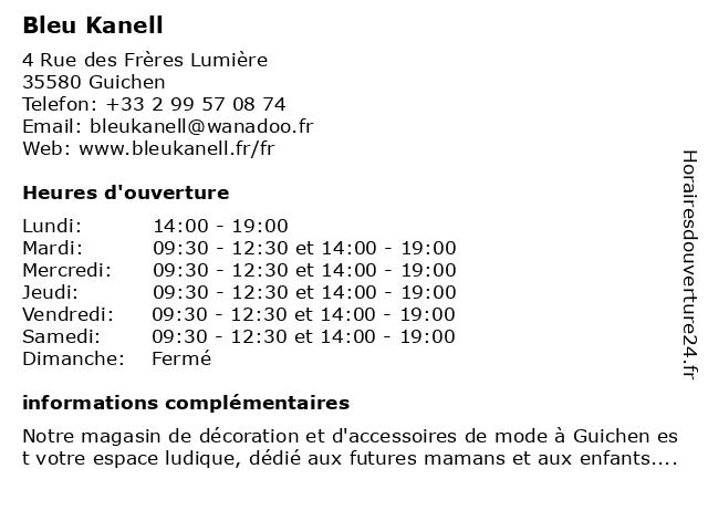 Bleu Kanell à Guichen: adresse et heures d'ouverture