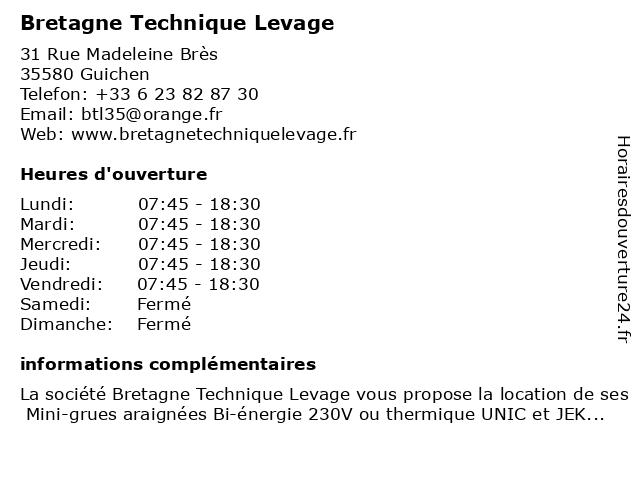 Bretagne Technique Levage à Guichen: adresse et heures d'ouverture