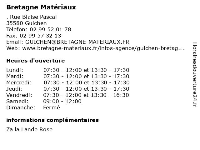 Bretagne materiaux à Guichen: adresse et heures d'ouverture