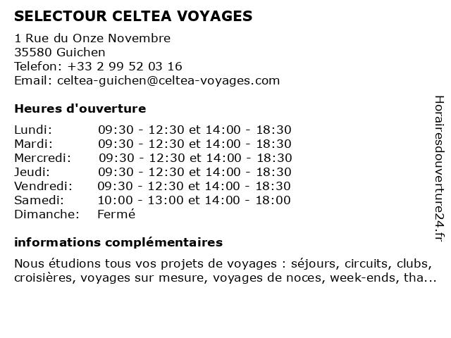 CELTEA VOYAGES à Guichen: adresse et heures d'ouverture