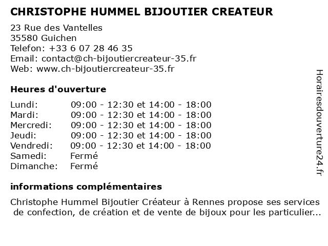 CHRISTOPHE HUMMEL BIJOUTIER CREATEUR à Guichen: adresse et heures d'ouverture