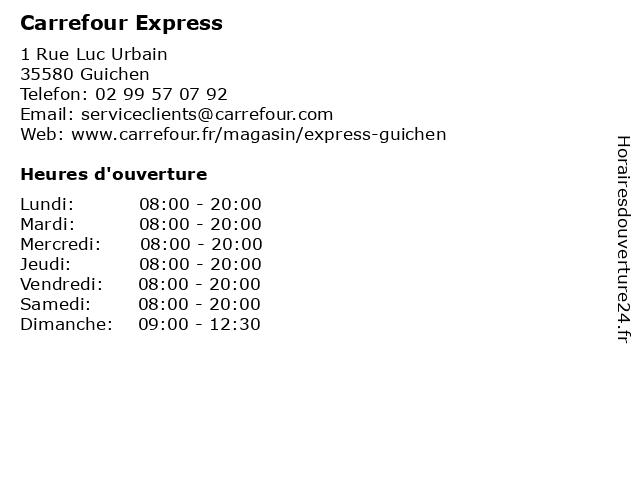 Carrefour Express à Guichen: adresse et heures d'ouverture