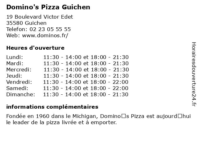 Domino's Pizza Guichen à Guichen: adresse et heures d'ouverture