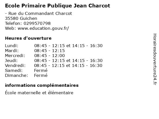 Ecole Primaire Publique Jean Charcot à Guichen: adresse et heures d'ouverture