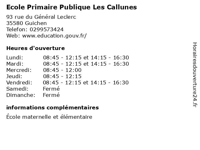 Ecole Primaire Publique Les Callunes à Guichen: adresse et heures d'ouverture