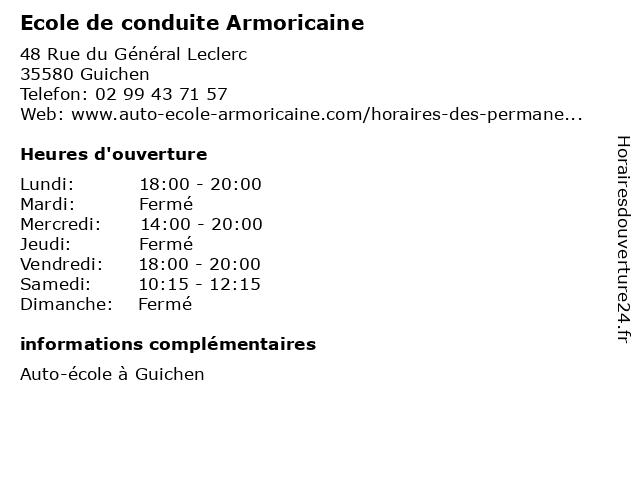 Ecole de conduite Armoricaine à Guichen: adresse et heures d'ouverture