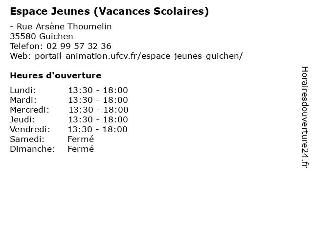 Espace Jeunes (Vacances Scolaires) à Guichen: adresse et heures d'ouverture