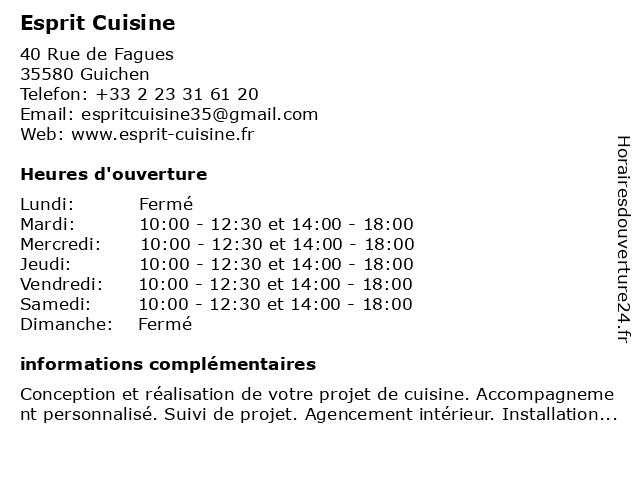Esprit Cuisine à Guichen: adresse et heures d'ouverture