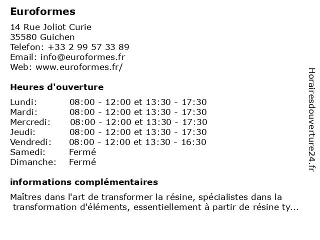 Euroformes à Guichen: adresse et heures d'ouverture