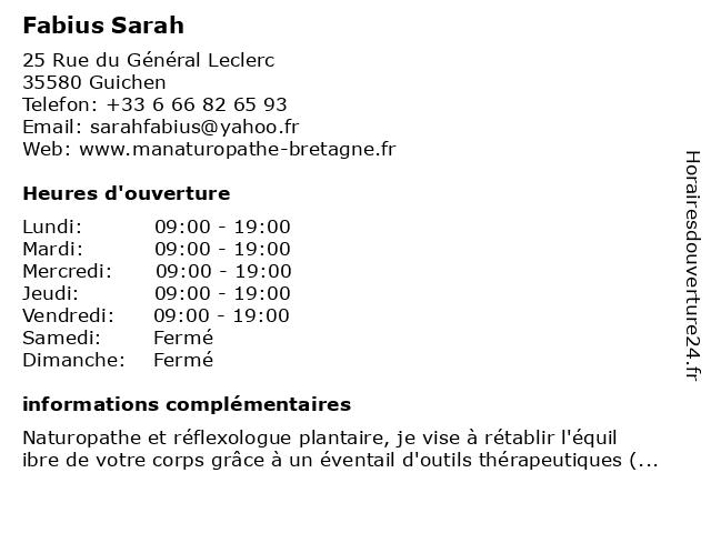 Fabius Sarah à Guichen: adresse et heures d'ouverture