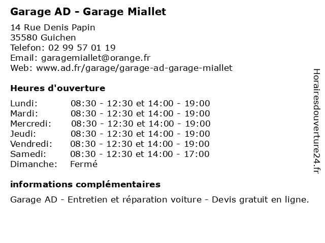 GARAGE MIALLET à Guichen: adresse et heures d'ouverture