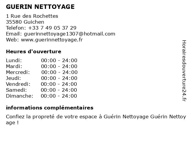 GUERIN NETTOYAGE à Guichen: adresse et heures d'ouverture