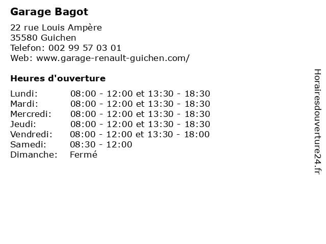 Garage Bagot à Guichen: adresse et heures d'ouverture