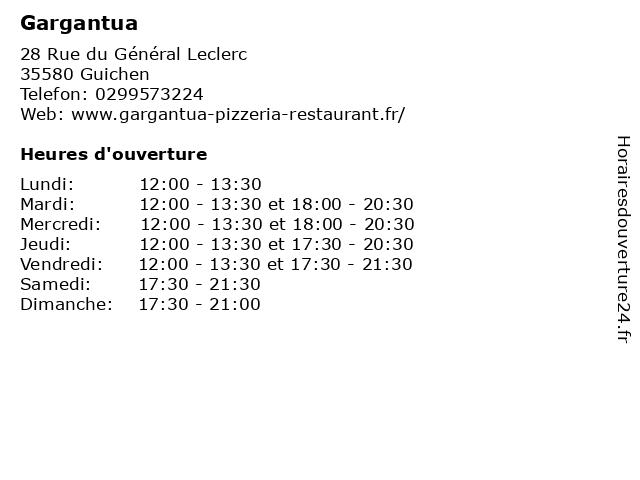 Gargantua à Guichen: adresse et heures d'ouverture