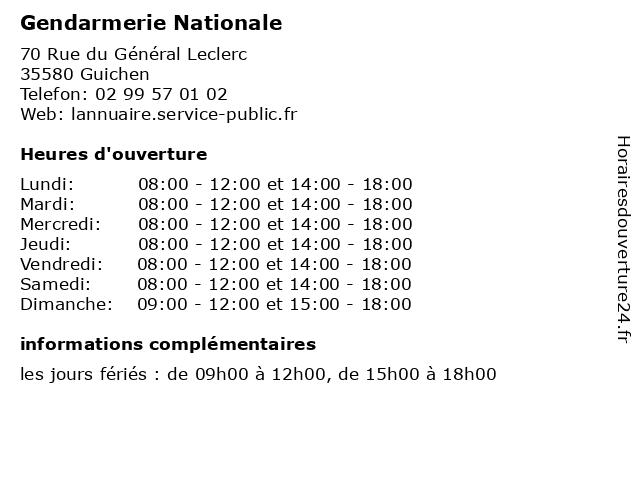 Gendarmerie Nationale à Guichen: adresse et heures d'ouverture