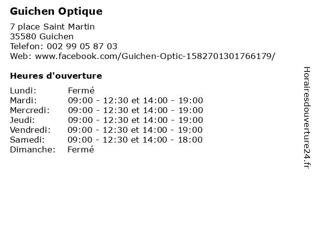 Guichen Optique à Guichen: adresse et heures d'ouverture