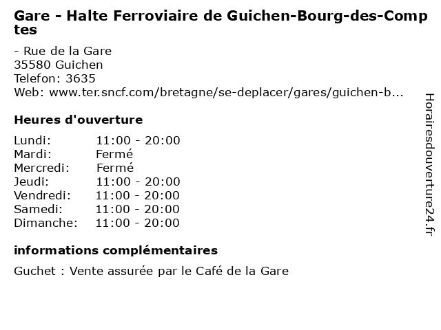 Halte Ferroviaire de Guichen-Bourg-des-Comptes à Guichen: adresse et heures d'ouverture