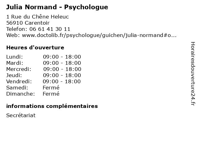 Julia Normand - Psychologue à Guichen: adresse et heures d'ouverture