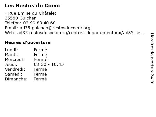 Les Resto du Coeur à Guichen: adresse et heures d'ouverture