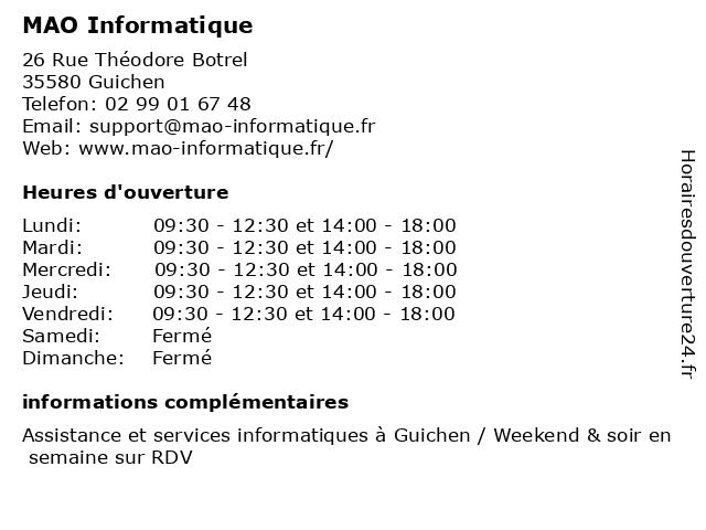 MAO Informatique à Guichen: adresse et heures d'ouverture