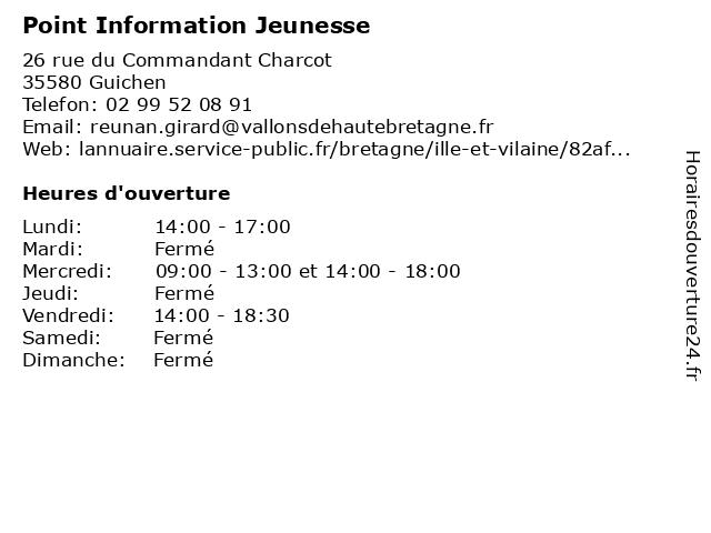 Point Information Jeunesse à Guichen: adresse et heures d'ouverture