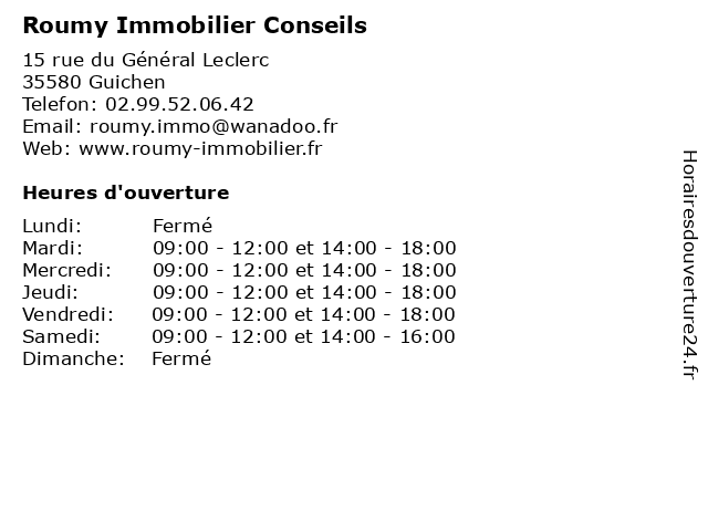 Roumy Immobilier Conseils à Guichen: adresse et heures d'ouverture