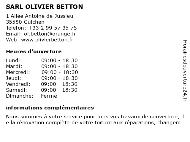 SARL OLIVIER BETTON à Guichen: adresse et heures d'ouverture