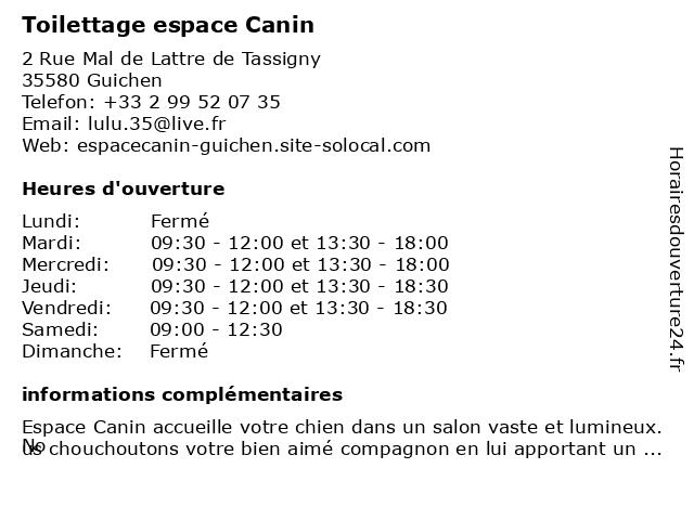 Toilettage espace Canin à Guichen: adresse et heures d'ouverture