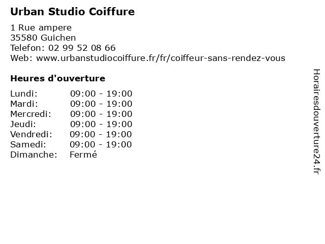 Urban Studio Coiffure à Guichen: adresse et heures d'ouverture