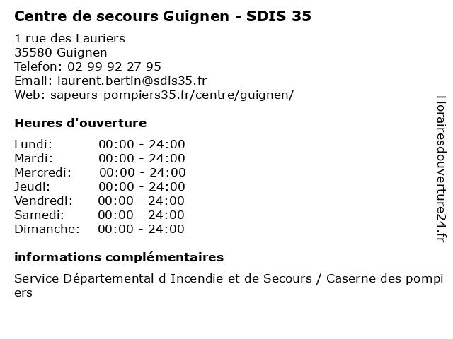 Centre de secours Guignen - SDIS 35 à Guignen: adresse et heures d'ouverture