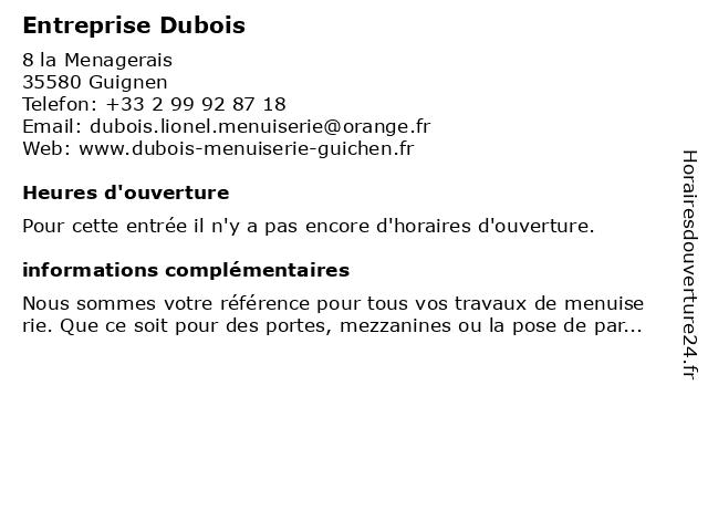 Entreprise Dubois à Guignen: adresse et heures d'ouverture