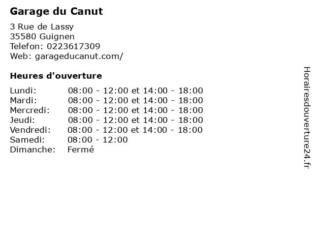 Garage du Canut à Guignen: adresse et heures d'ouverture