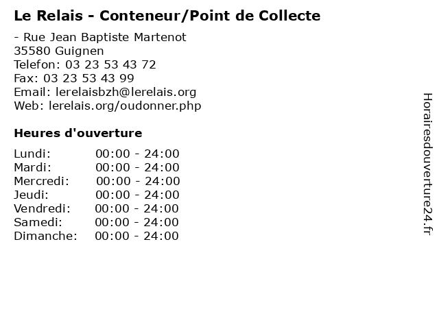 Le Relais - Conteneur/Point de Collecte à Guignen: adresse et heures d'ouverture