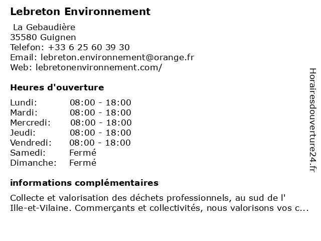 Lebreton Environnement à Guignen: adresse et heures d'ouverture