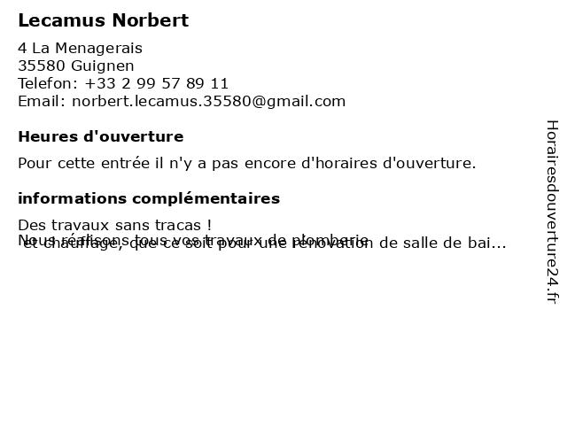 Lecamus Norbert à Guignen: adresse et heures d'ouverture