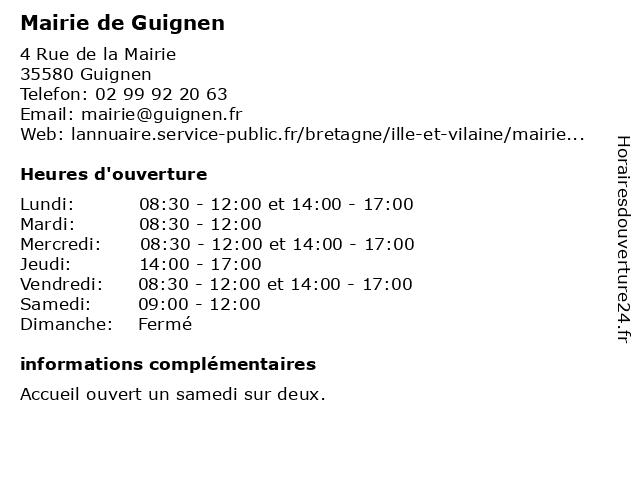 Mairie de Guignen à Guignen: adresse et heures d'ouverture