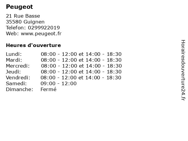 Peugeot à Guignen: adresse et heures d'ouverture