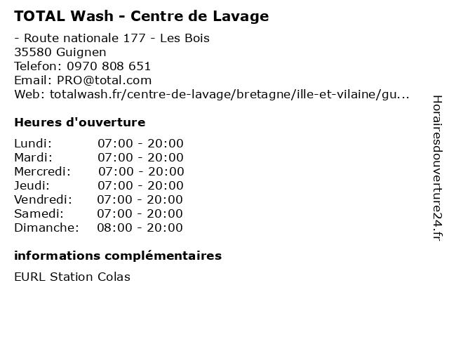 TOTAL Wash - Centre de Lavage à Guignen: adresse et heures d'ouverture
