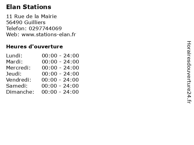 Elan Stations à Guilliers: adresse et heures d'ouverture