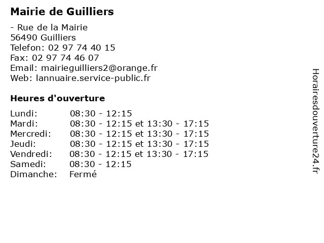 Mairie de Guilliers à Guilliers: adresse et heures d'ouverture