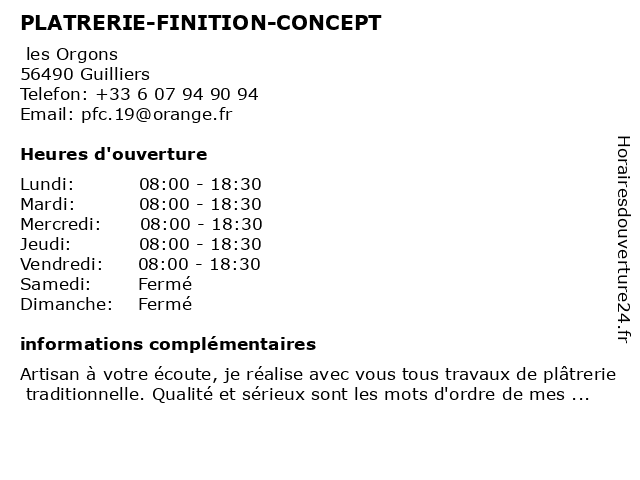 PLATRERIE-FINITION-CONCEPT à Guilliers: adresse et heures d'ouverture