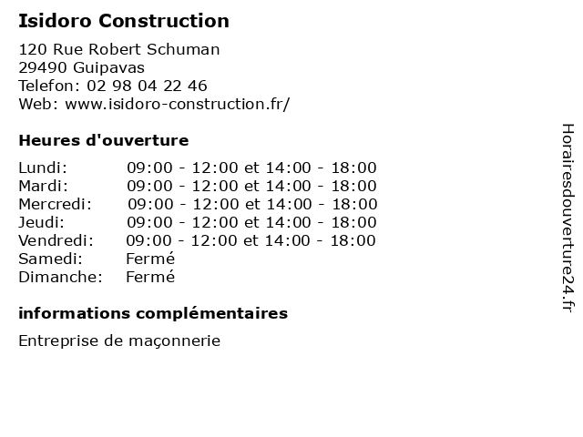 Isidoro Construction à Guipavas: adresse et heures d'ouverture