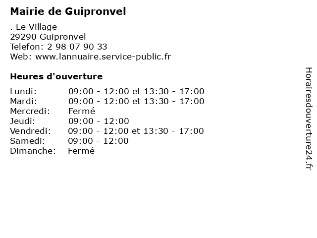 Mairie de Guipronvel à Guipronvel: adresse et heures d'ouverture