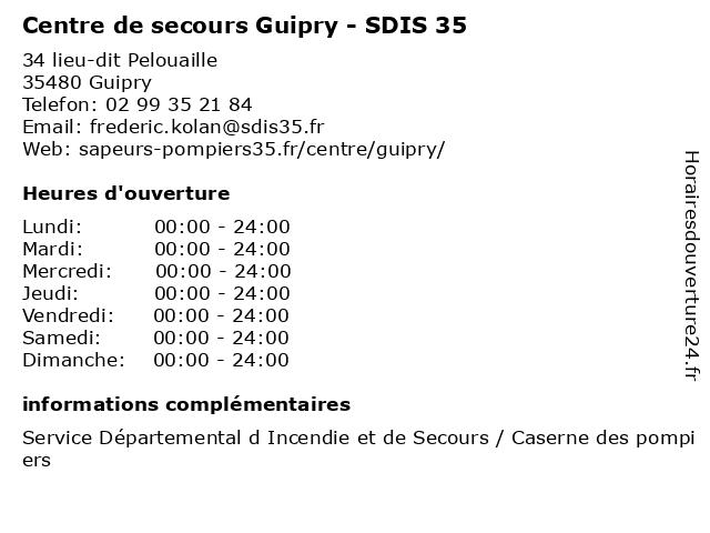 Centre de secours Guipry - SDIS 35 à Guipry: adresse et heures d'ouverture