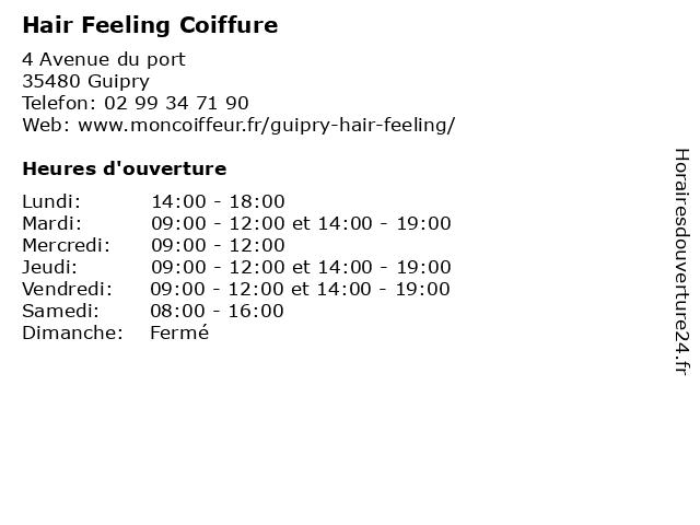 Hair Feeling Coiffure à Guipry: adresse et heures d'ouverture