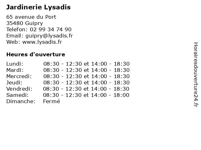 Jardinerie Lysadis à Guipry: adresse et heures d'ouverture