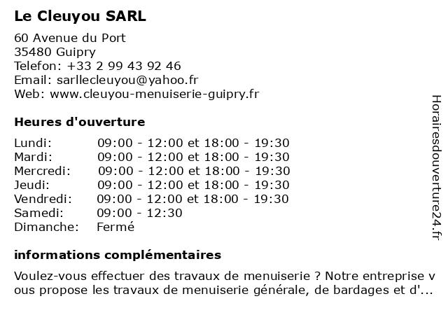 Le Cleuyou SARL à Guipry: adresse et heures d'ouverture