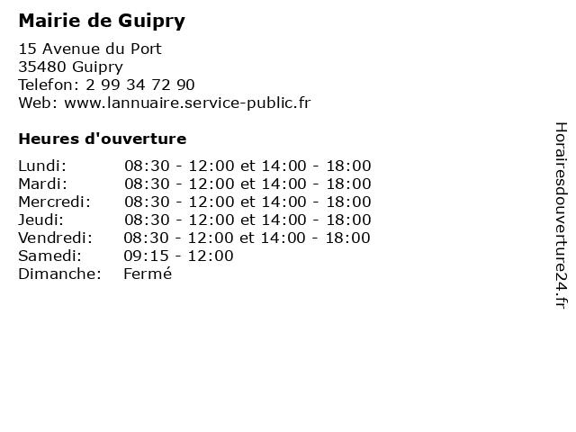 Mairie de Guipry à Guipry: adresse et heures d'ouverture